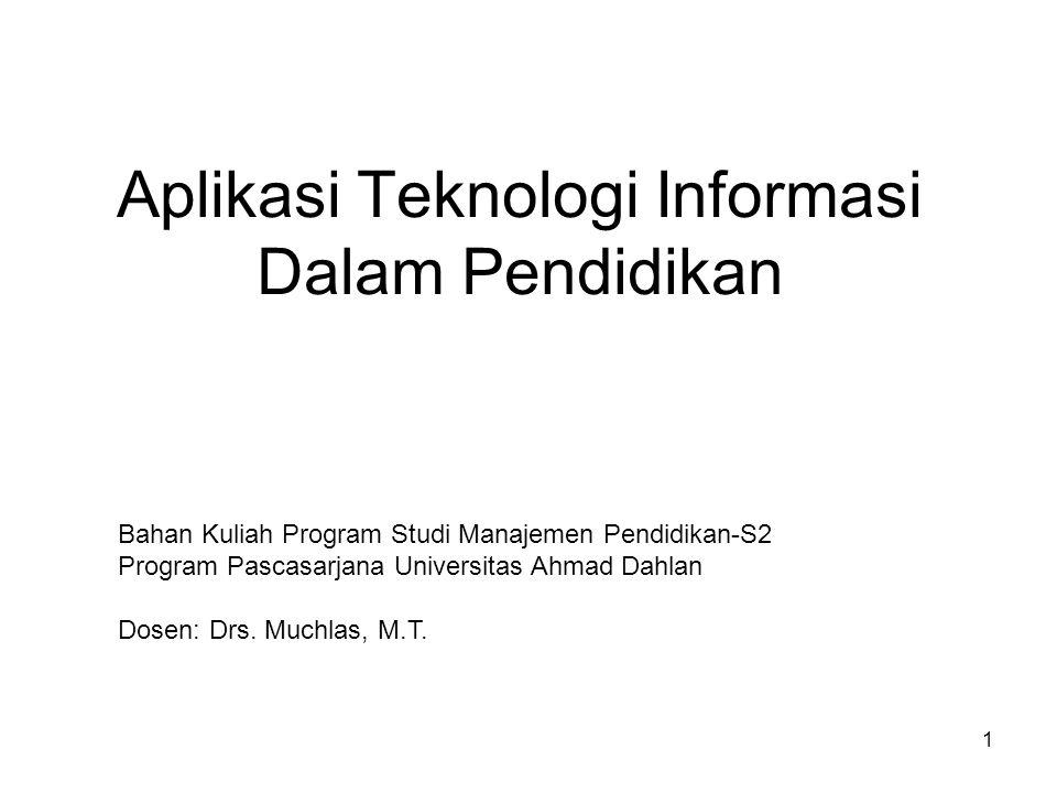 Aplikasi Teknologi Informasi Dalam Pendidikan Bahan Kuliah Program Studi Manajemen Pendidikan-S2 Program Pascasarjana Universitas Ahmad Dahlan Dosen: