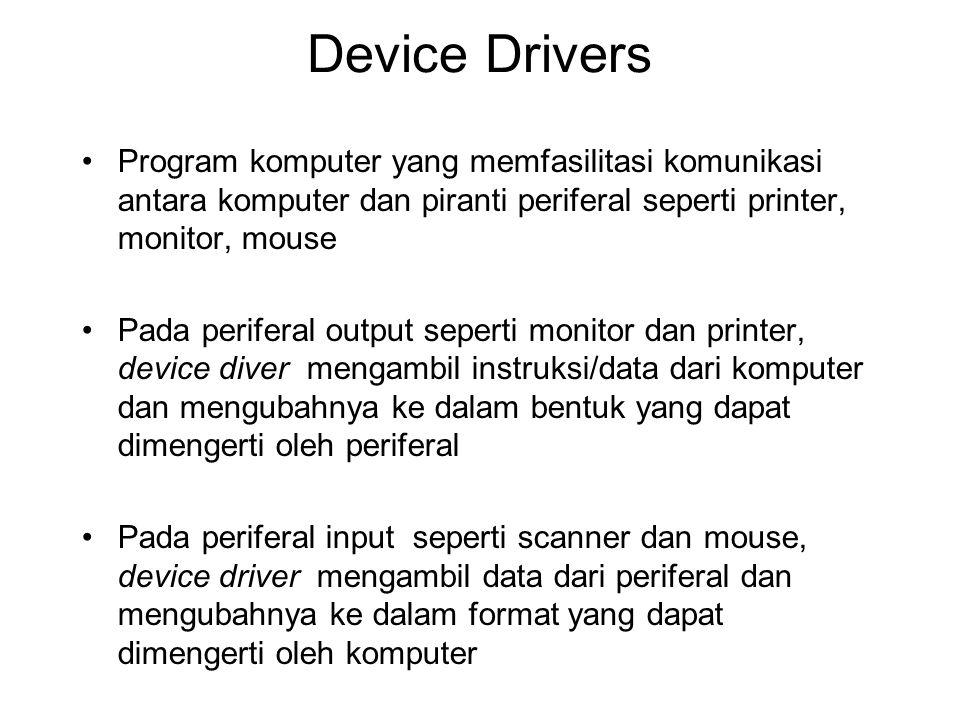 Device Drivers Program komputer yang memfasilitasi komunikasi antara komputer dan piranti periferal seperti printer, monitor, mouse Pada periferal out