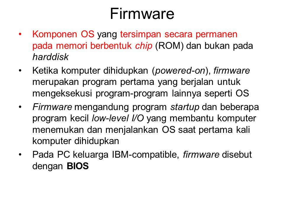 Firmware Komponen OS yang tersimpan secara permanen pada memori berbentuk chip (ROM) dan bukan pada harddisk Ketika komputer dihidupkan (powered-on),