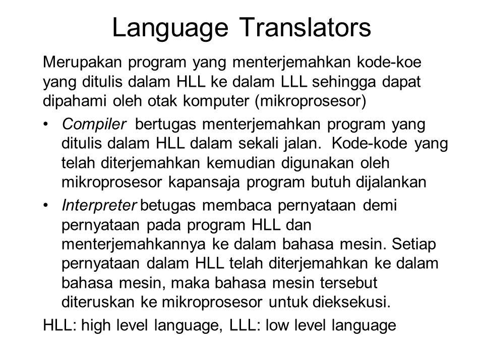 Language Translators Merupakan program yang menterjemahkan kode-koe yang ditulis dalam HLL ke dalam LLL sehingga dapat dipahami oleh otak komputer (mi