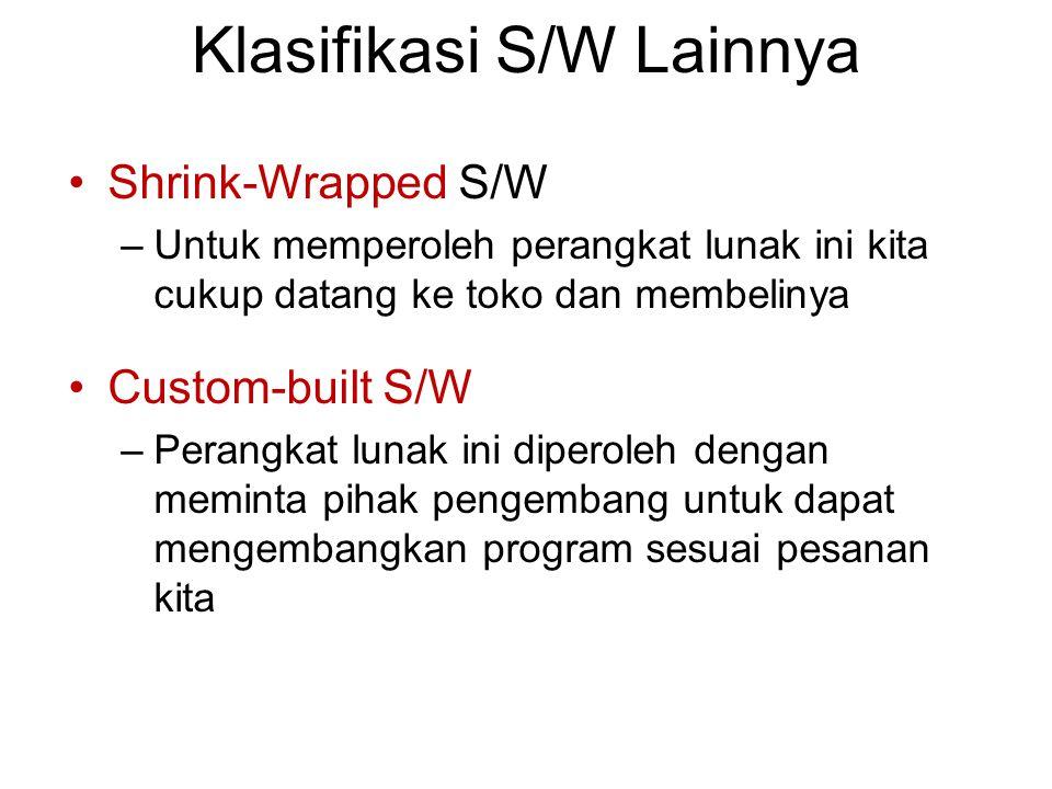 Klasifikasi S/W Lainnya Shrink-Wrapped S/W –Untuk memperoleh perangkat lunak ini kita cukup datang ke toko dan membelinya Custom-built S/W –Perangkat