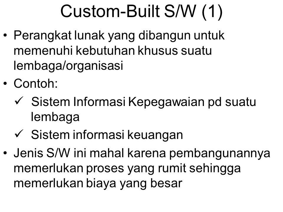 Custom-Built S/W (1) Perangkat lunak yang dibangun untuk memenuhi kebutuhan khusus suatu lembaga/organisasi Contoh: Sistem Informasi Kepegawaian pd su