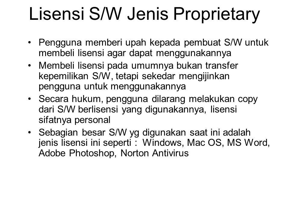 Lisensi S/W Jenis Proprietary Pengguna memberi upah kepada pembuat S/W untuk membeli lisensi agar dapat menggunakannya Membeli lisensi pada umumnya bu