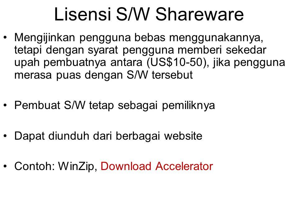 Lisensi S/W Shareware Mengijinkan pengguna bebas menggunakannya, tetapi dengan syarat pengguna memberi sekedar upah pembuatnya antara (US$10-50), jika