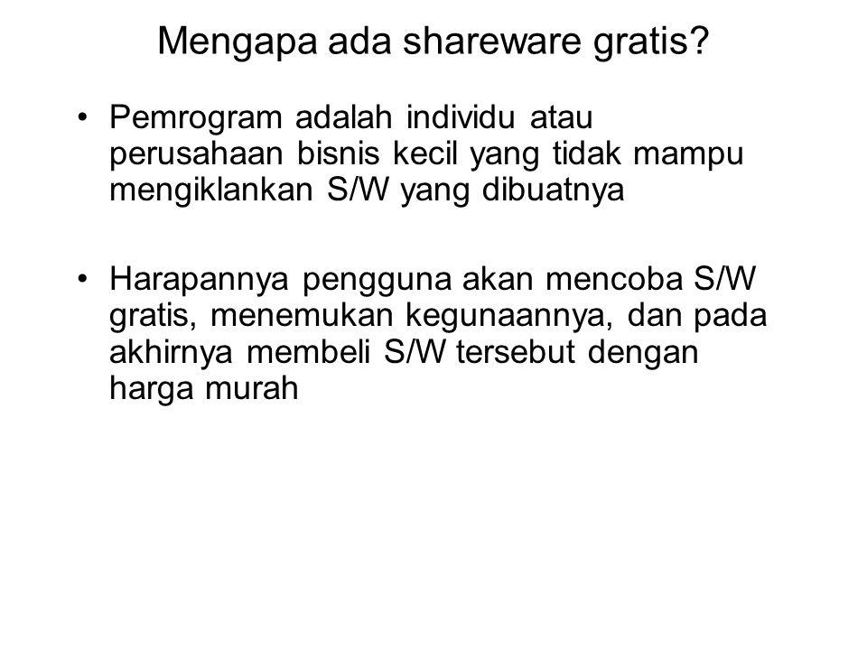 Mengapa ada shareware gratis? Pemrogram adalah individu atau perusahaan bisnis kecil yang tidak mampu mengiklankan S/W yang dibuatnya Harapannya pengg