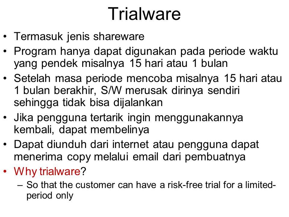 Trialware Termasuk jenis shareware Program hanya dapat digunakan pada periode waktu yang pendek misalnya 15 hari atau 1 bulan Setelah masa periode men