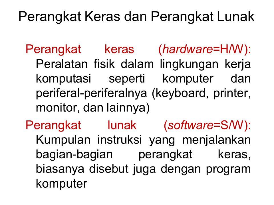 Perangkat Keras dan Perangkat Lunak Perangkat keras (hardware=H/W): Peralatan fisik dalam lingkungan kerja komputasi seperti komputer dan periferal-pe