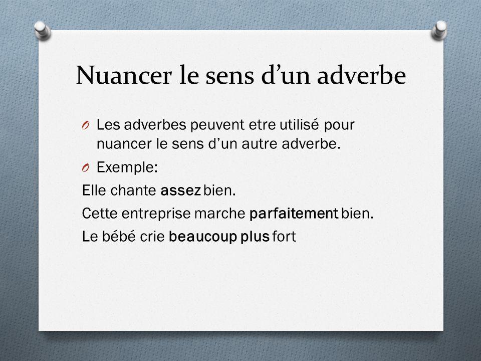 Nuancer le sens d'un adverbe O Les adverbes peuvent etre utilisé pour nuancer le sens d'un autre adverbe. O Exemple: Elle chante assez bien. Cette ent