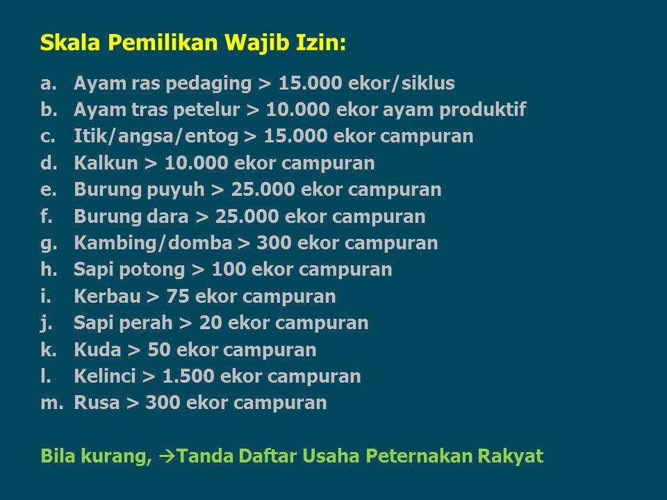 Skala Pemilikan Wajib Izin: a.Ayam ras pedaging > 15.000 ekor/siklus b.Ayam tras petelur > 10.000 ekor ayam produktif c.Itik/angsa/entog > 15.000 ekor