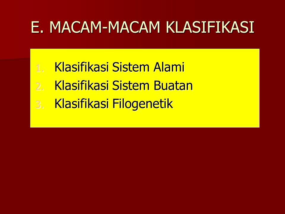 E. MACAM-MACAM KLASIFIKASI 1. Klasifikasi Sistem Alami 2. Klasifikasi Sistem Buatan 3. Klasifikasi Filogenetik