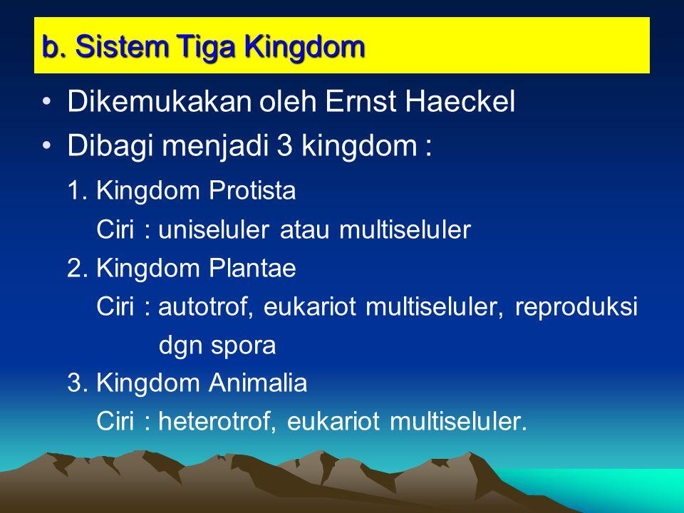 b. Sistem Tiga Kingdom Dikemukakan oleh Ernst Haeckel Dibagi menjadi 3 kingdom : 1. Kingdom Protista Ciri : uniseluler atau multiseluler 2. Kingdom Pl
