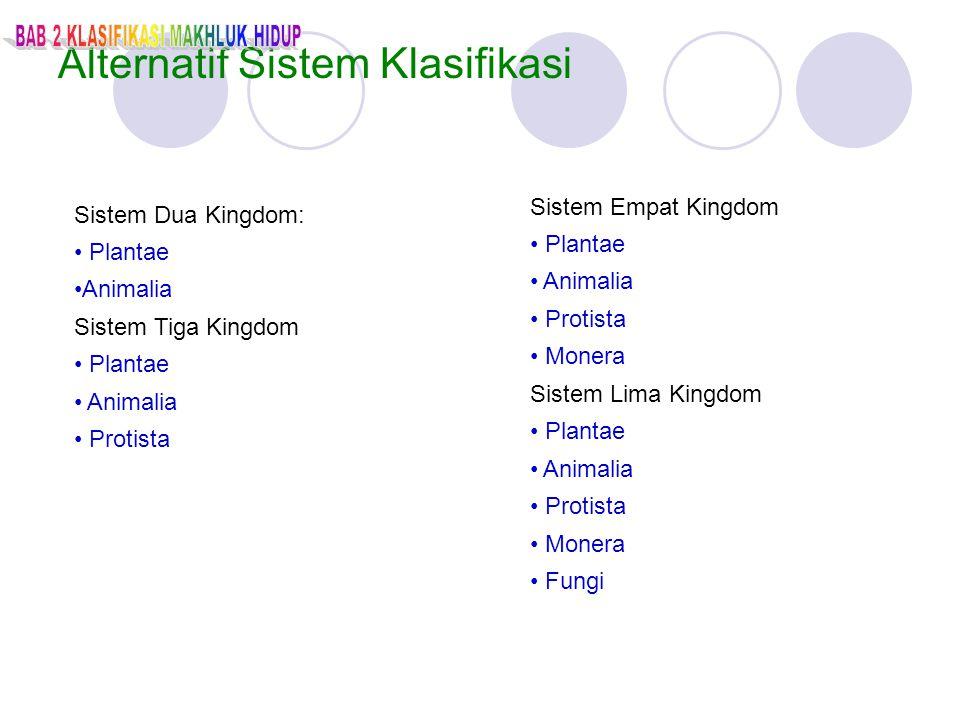 Alternatif Sistem Klasifikasi Sistem Dua Kingdom: Plantae Animalia Sistem Tiga Kingdom Plantae Animalia Protista Sistem Empat Kingdom Plantae Animalia