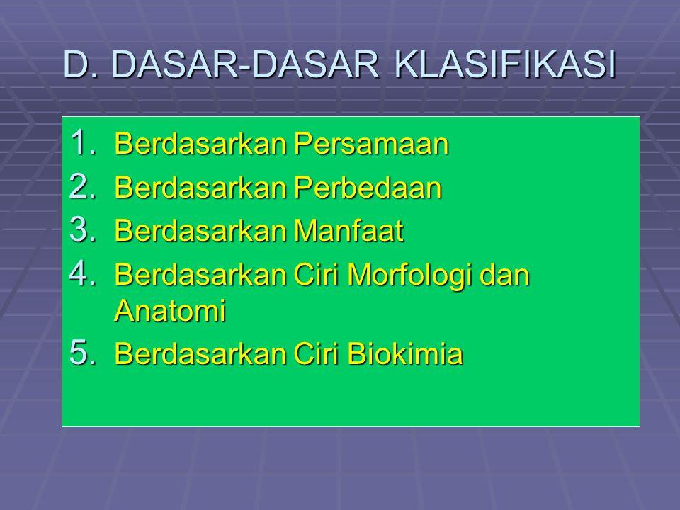 D. DASAR-DASAR KLASIFIKASI 1. Berdasarkan Persamaan 2. Berdasarkan Perbedaan 3. Berdasarkan Manfaat 4. Berdasarkan Ciri Morfologi dan Anatomi 5. Berda