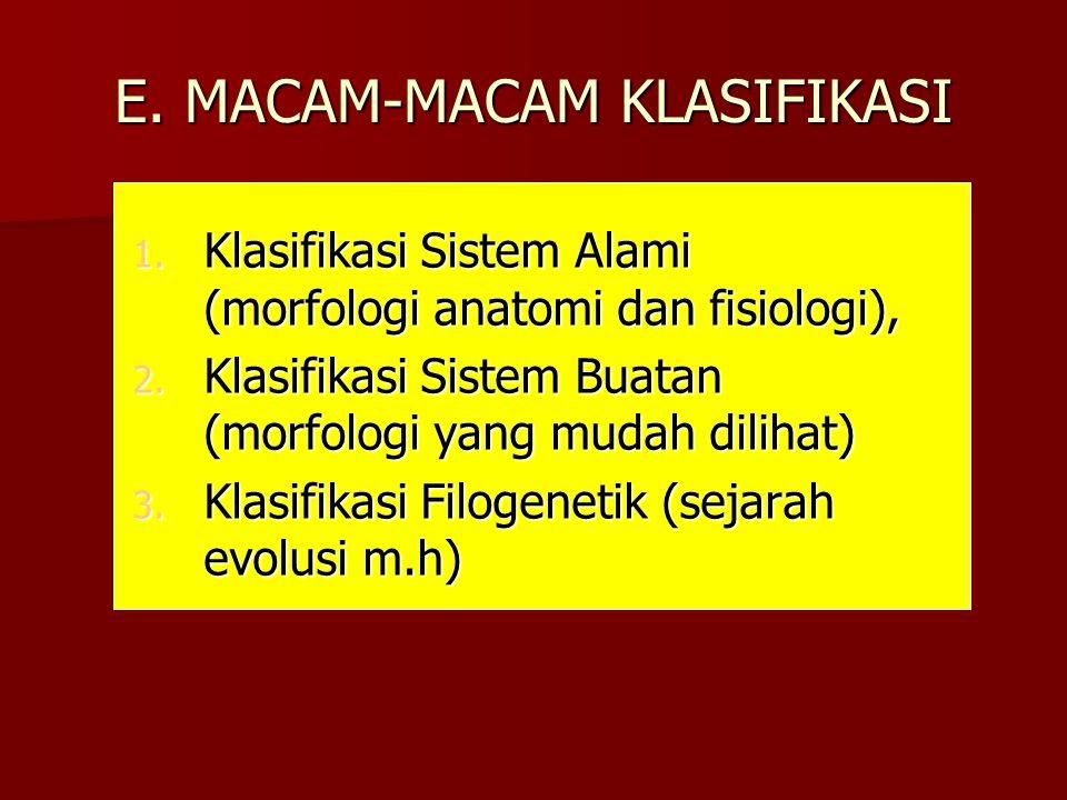 E. MACAM-MACAM KLASIFIKASI 1. Klasifikasi Sistem Alami (morfologi anatomi dan fisiologi), 2. Klasifikasi Sistem Buatan (morfologi yang mudah dilihat)