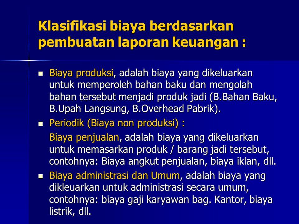 Klasifikasi biaya berdasarkan pembuatan laporan keuangan : Biaya produksi, adalah biaya yang dikeluarkan untuk memperoleh bahan baku dan mengolah bahan tersebut menjadi produk jadi (B.Bahan Baku, B.Upah Langsung, B.Overhead Pabrik).