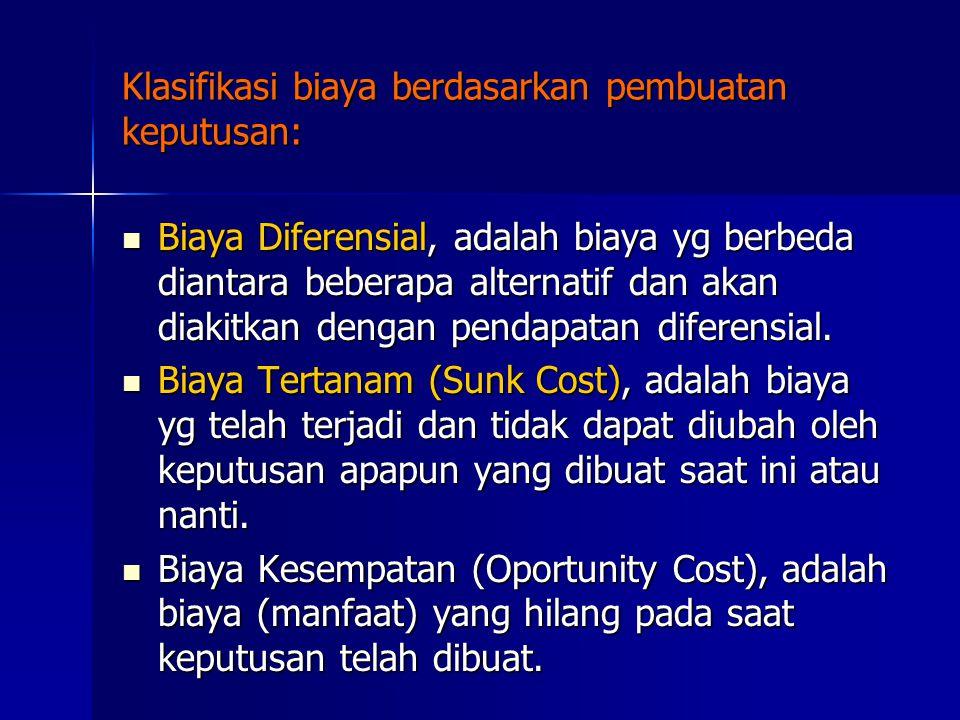 Klasifikasi biaya berdasarkan pembuatan keputusan: Biaya Diferensial, adalah biaya yg berbeda diantara beberapa alternatif dan akan diakitkan dengan pendapatan diferensial.