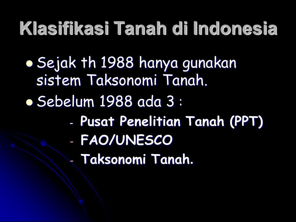 Klasifikasi Tanah di Indonesia Sejak th 1988 hanya gunakan sistem Taksonomi Tanah. Sejak th 1988 hanya gunakan sistem Taksonomi Tanah. Sebelum 1988 ad
