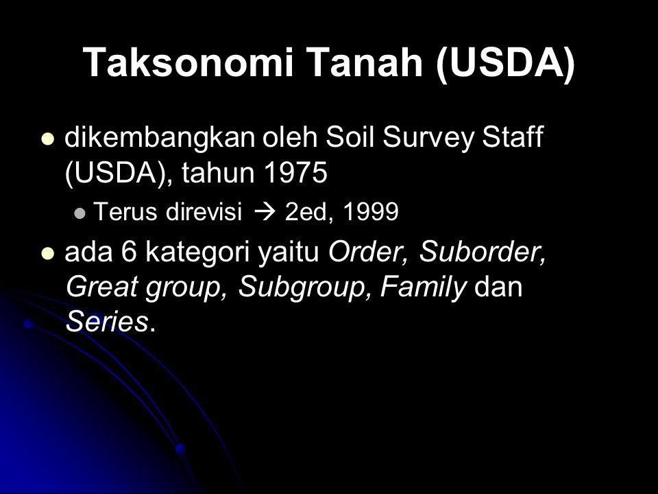 Taksonomi Tanah (USDA) dikembangkan oleh Soil Survey Staff (USDA), tahun 1975 Terus direvisi  2ed, 1999 ada 6 kategori yaitu Order, Suborder, Great g