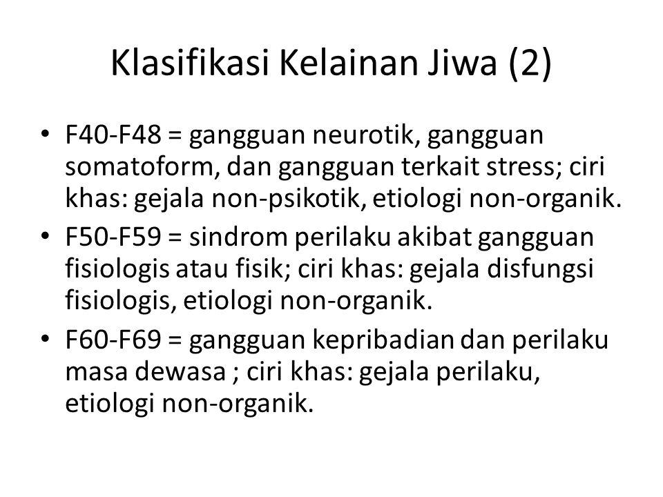 Klasifikasi Kelainan Jiwa (2) F40-F48 = gangguan neurotik, gangguan somatoform, dan gangguan terkait stress; ciri khas: gejala non-psikotik, etiologi