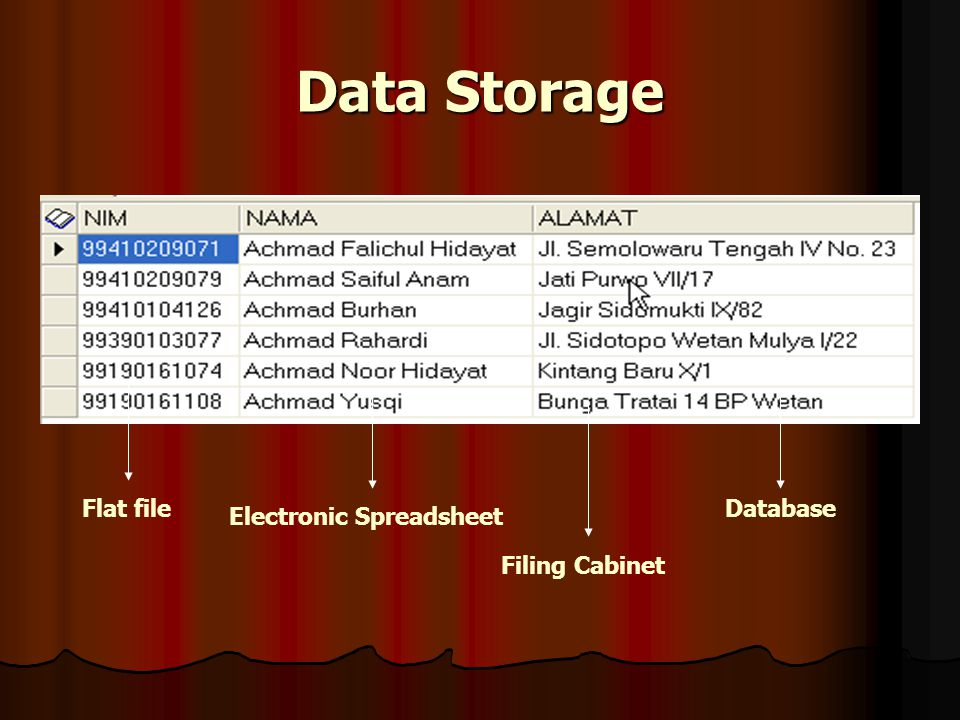 Data Storage Electronic Spreadsheet Filing Cabinet DatabaseFlat file