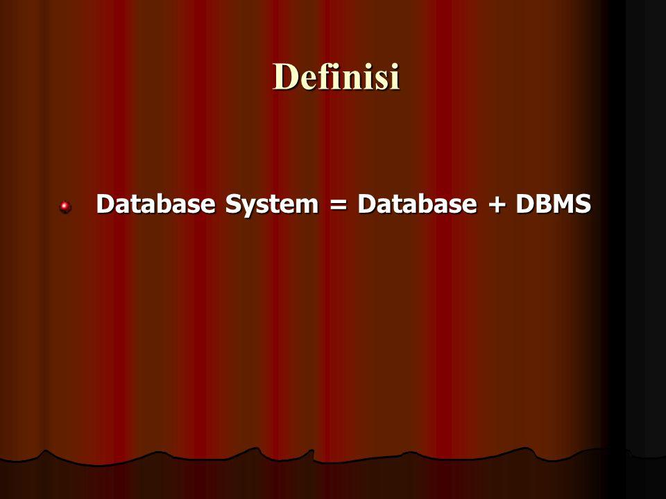 Definisi Database System = Database + DBMS