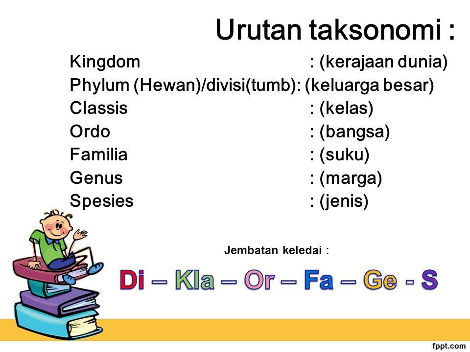 Urutan taksonomi : Kingdom : (kerajaan dunia) Phylum (Hewan)/divisi(tumb): (keluarga besar) Classis : (kelas) Ordo : (bangsa) Familia : (suku) Genus :