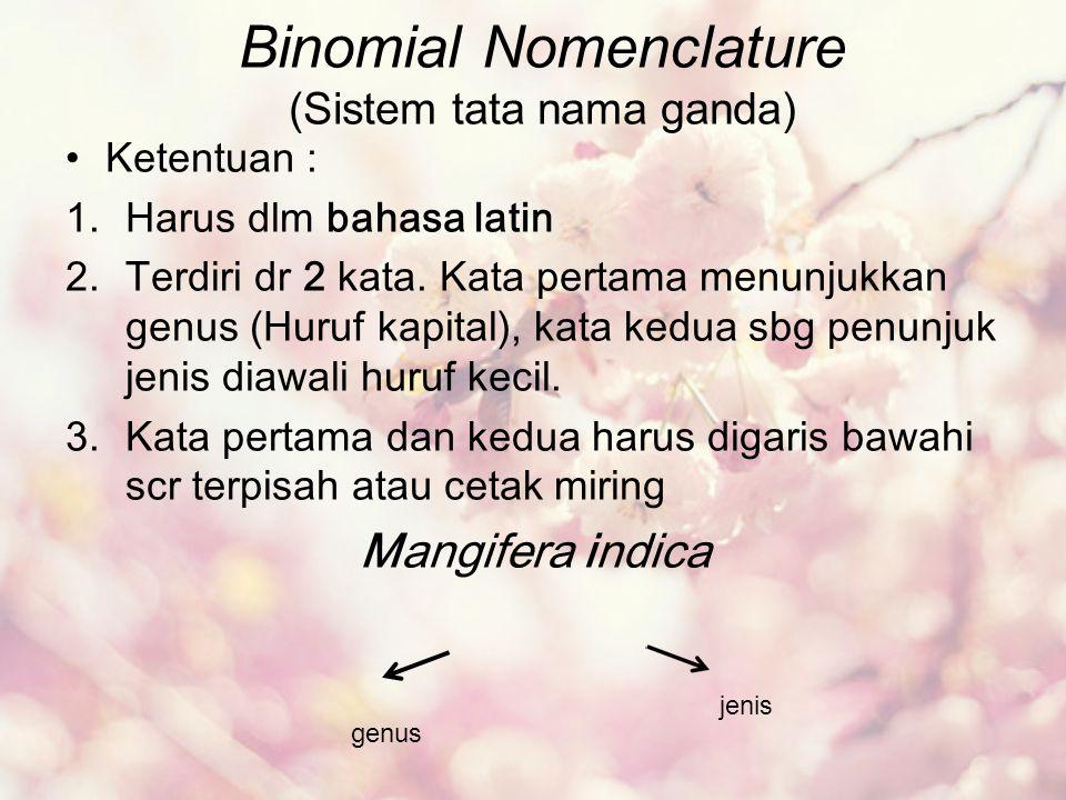 Binomial Nomenclature (Sistem tata nama ganda) Ketentuan : 1.Harus dlm bahasa latin 2.Terdiri dr 2 kata. Kata pertama menunjukkan genus (Huruf kapital
