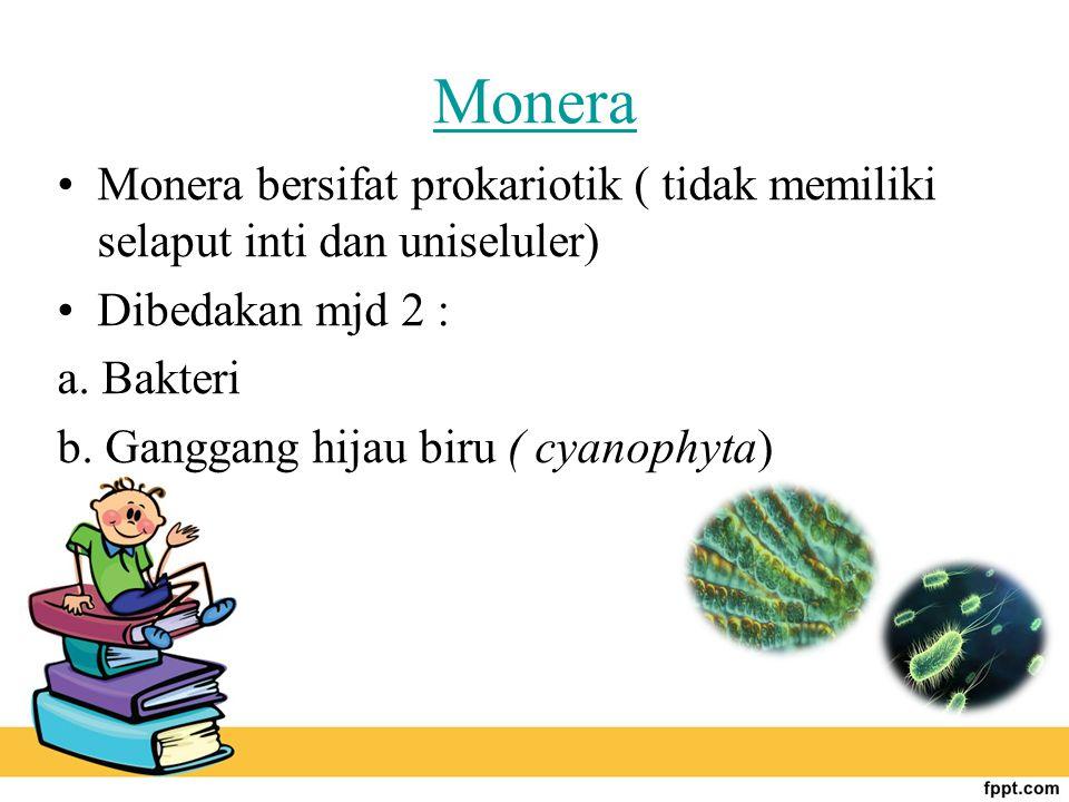 Monera Monera bersifat prokariotik ( tidak memiliki selaput inti dan uniseluler) Dibedakan mjd 2 : a. Bakteri b. Ganggang hijau biru ( cyanophyta)