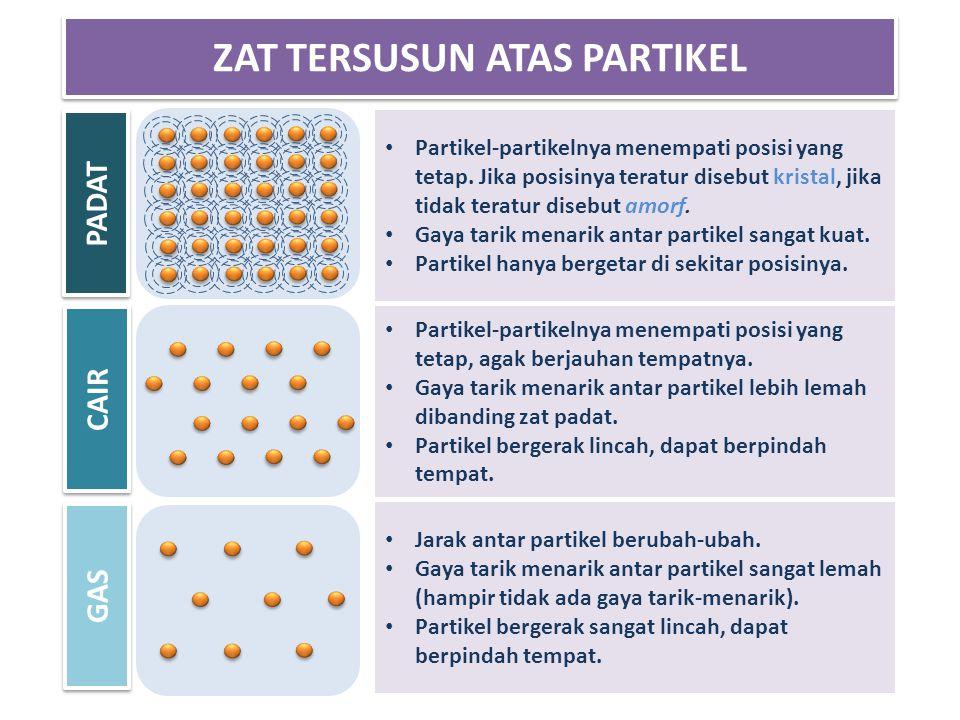 Partikel-partikelnya menempati posisi yang tetap. Jika posisinya teratur disebut kristal, jika tidak teratur disebut amorf. Gaya tarik menarik antar p
