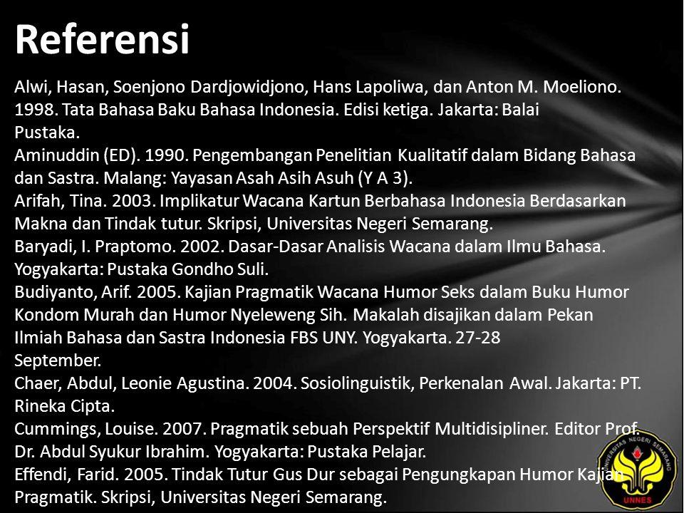 Referensi Alwi, Hasan, Soenjono Dardjowidjono, Hans Lapoliwa, dan Anton M.