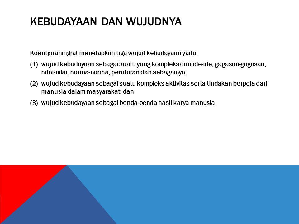 UNSUR-UNSUR KEBUDAYAAN Koentjaraningrat (1985) menyebutkan ada tujuh unsur-unsur kebudayaan.