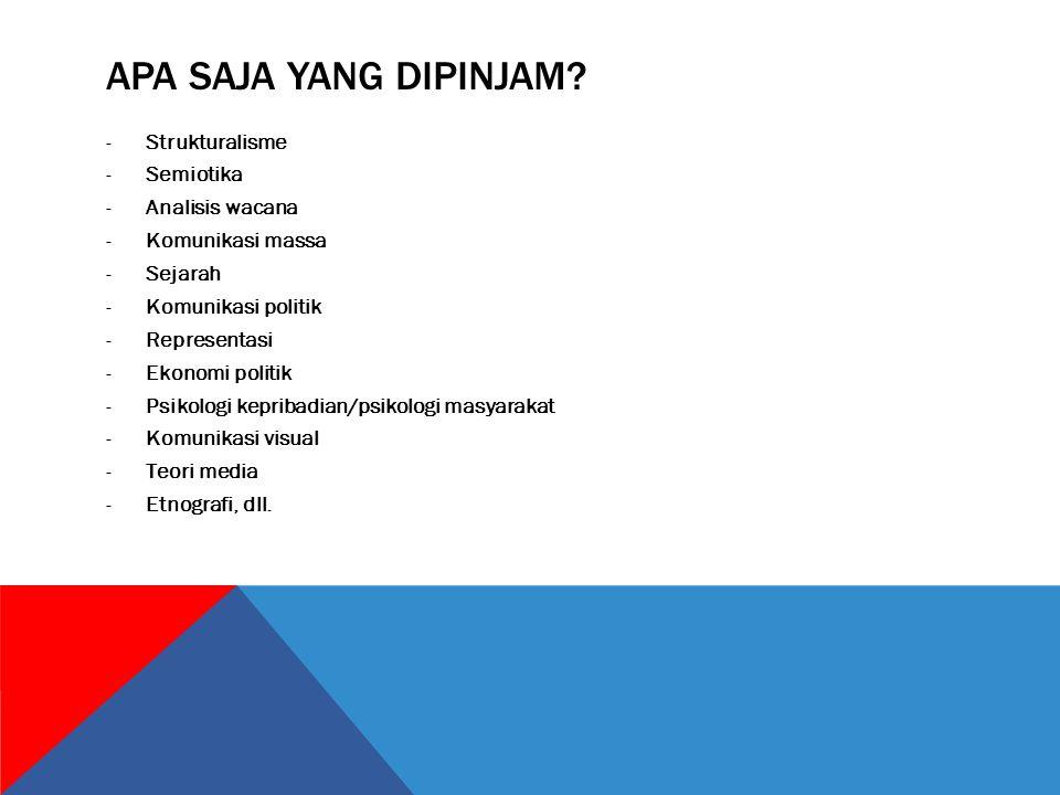 APA SAJA YANG DIPINJAM? -Strukturalisme -Semiotika -Analisis wacana -Komunikasi massa -Sejarah -Komunikasi politik -Representasi -Ekonomi politik -Psi