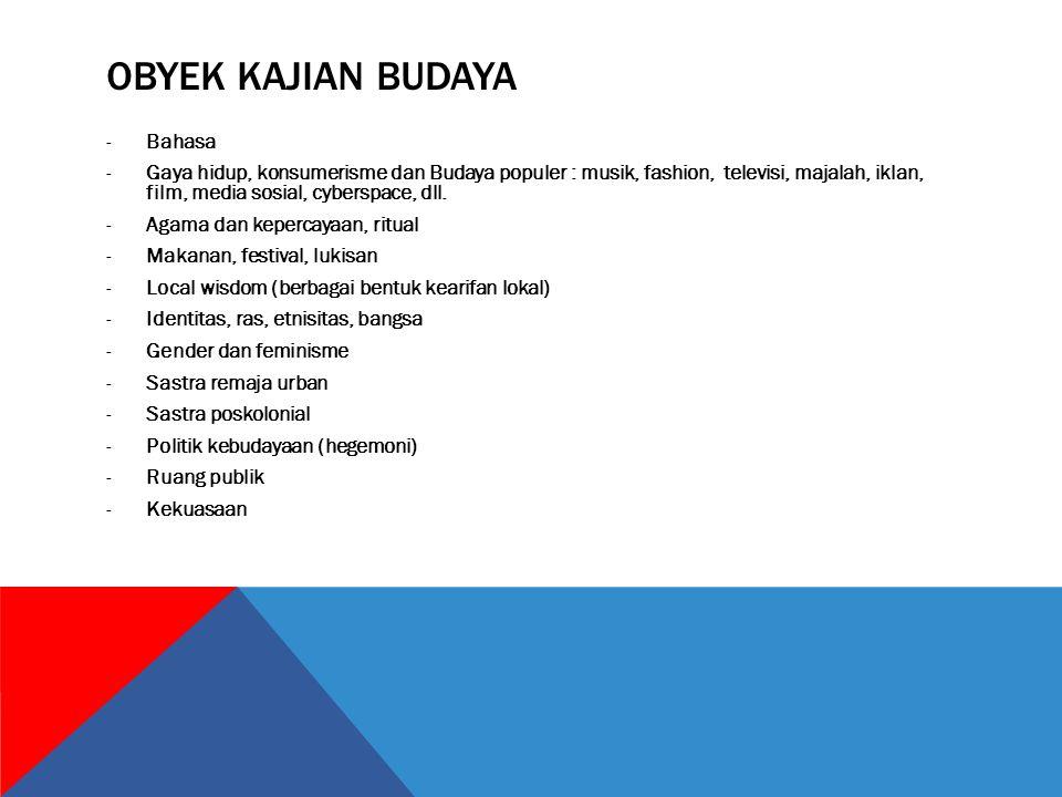 OBYEK KAJIAN BUDAYA -Bahasa -Gaya hidup, konsumerisme dan Budaya populer : musik, fashion, televisi, majalah, iklan, film, media sosial, cyberspace, d