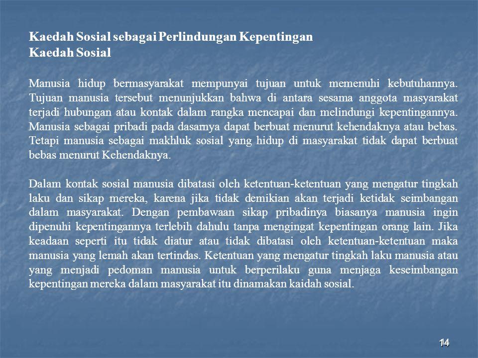 14 Kaedah Sosial sebagai Perlindungan Kepentingan Kaedah Sosial Manusia hidup bermasyarakat mempunyai tujuan untuk memenuhi kebutuhannya. Tujuan manus