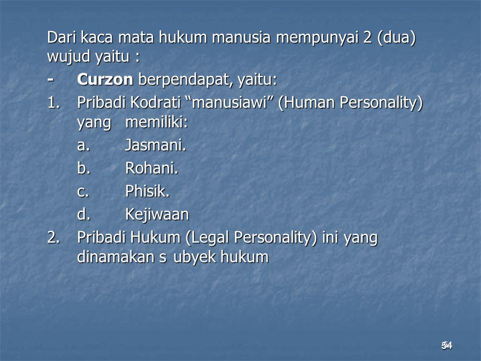 """54 Dari kaca mata hukum manusia mempunyai 2 (dua) wujud yaitu : -Curzon berpendapat, yaitu: 1.Pribadi Kodrati """"manusiawi"""" (Human Personality) yang mem"""