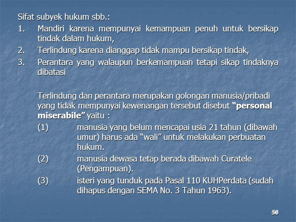 56 Sifat subyek hukum sbb.: 1.Mandiri karena mempunyai kemampuan penuh untuk bersikap tindak dalam hukum, 2.Terlindung karena dianggap tidak mampu ber
