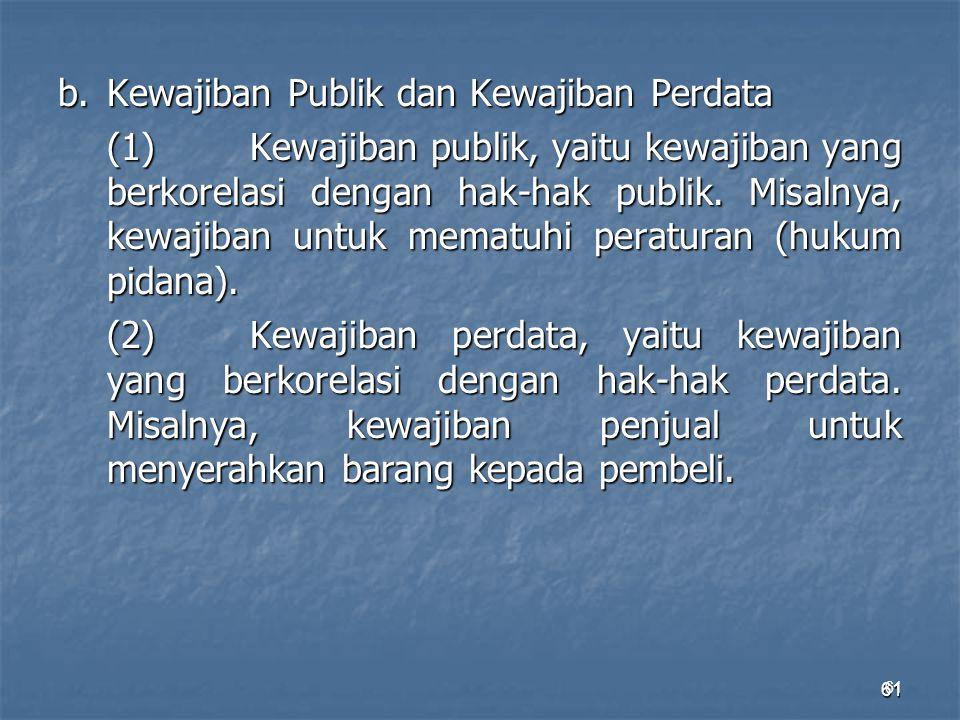 61 b.Kewajiban Publik dan Kewajiban Perdata (1)Kewajiban publik, yaitu kewajiban yang berkorelasi dengan hak-hak publik. Misalnya, kewajiban untuk mem