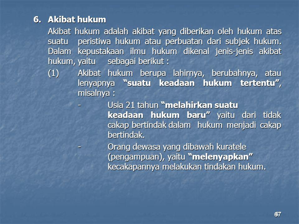 67 6. Akibat hukum Akibat hukum adalah akibat yang diberikan oleh hukum atas suatu peristiwa hukum atau perbuatan dari subjek hukum. Dalam kepustakaan