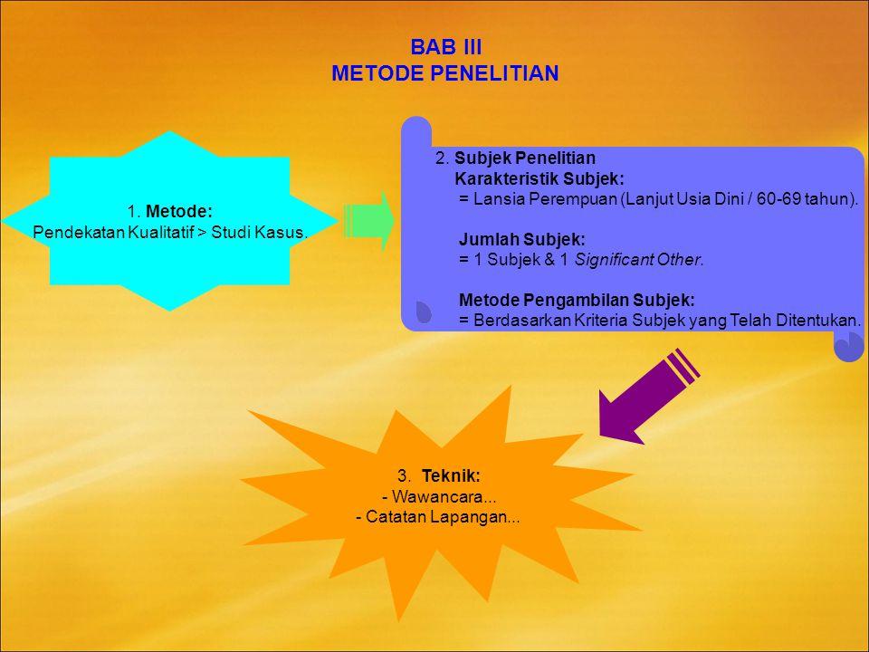 BAB III METODE PENELITIAN 1.Metode: Pendekatan Kualitatif > Studi Kasus.