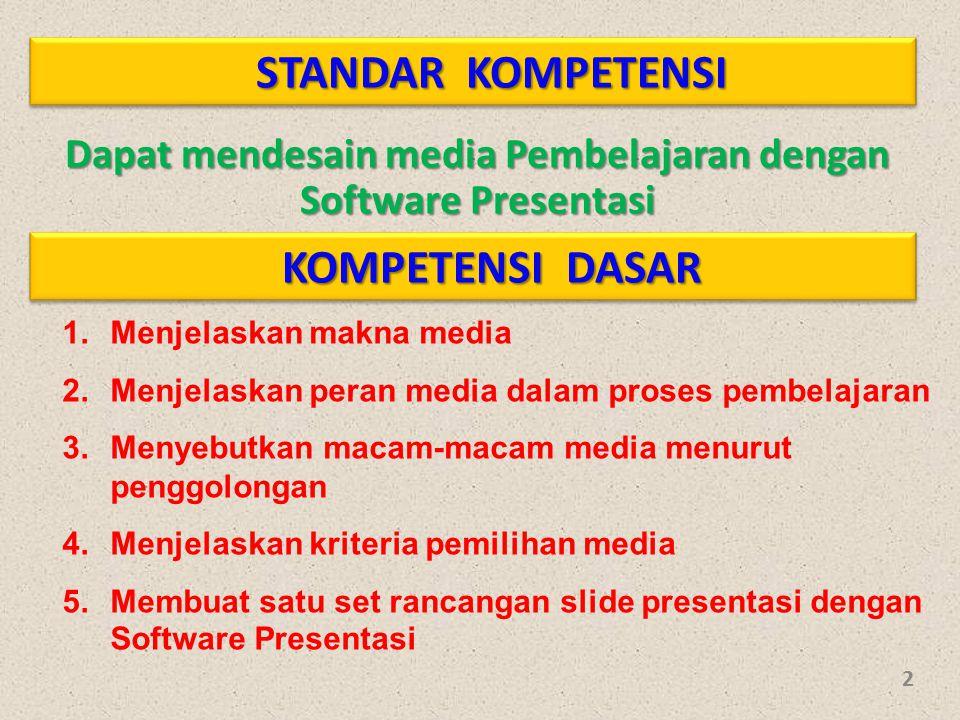 STANDAR KOMPETENSI Dapat mendesain media Pembelajaran dengan Software Presentasi KOMPETENSI DASAR 1.Menjelaskan makna media 2.Menjelaskan peran media