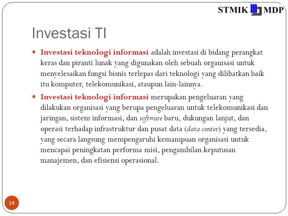 Investasi TI 14 Investasi teknologi informasi adalah investasi di bidang perangkat keras dan piranti lunak yang digunakan oleh sebuah organisasi untuk menyelesaikan fungsi bisnis terlepas dari teknologi yang dilibatkan baik itu komputer, telekomunikasi, ataupun lain-lainnya.
