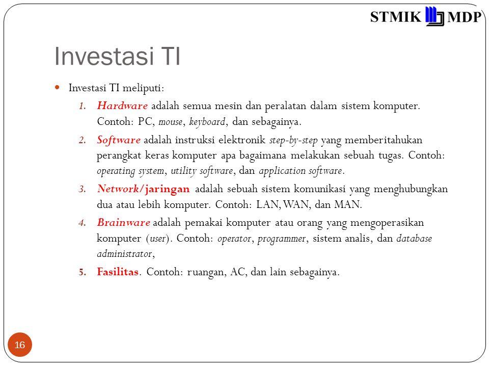 Investasi TI 16 Investasi TI meliputi: 1.