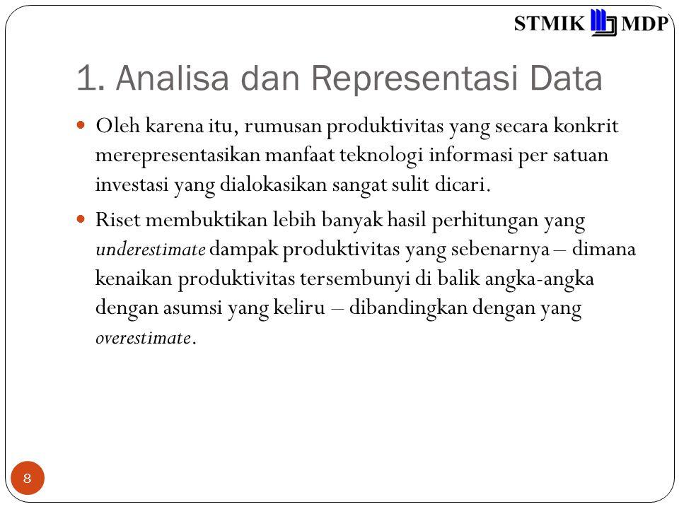 1. Analisa dan Representasi Data 8 Oleh karena itu, rumusan produktivitas yang secara konkrit merepresentasikan manfaat teknologi informasi per satuan