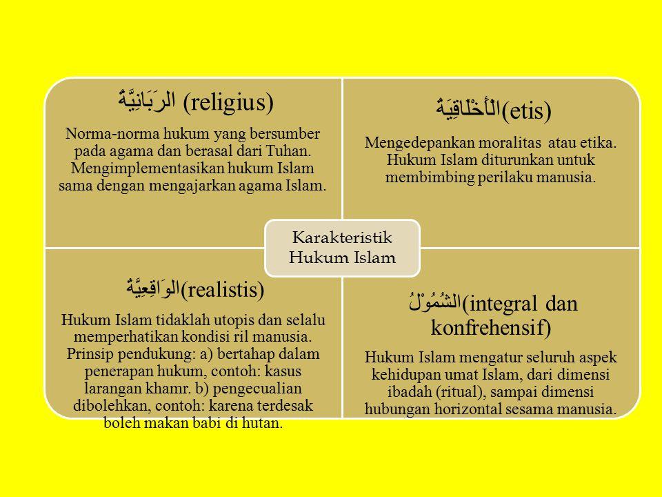الرَبَانِيَّةُ (religius) Norma-norma hukum yang bersumber pada agama dan berasal dari Tuhan. Mengimplementasikan hukum Islam sama dengan mengajarkan