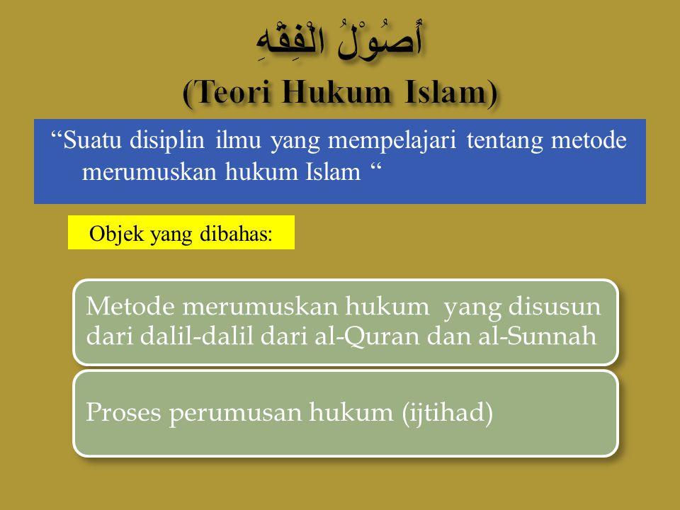"""""""Suatu disiplin ilmu yang mempelajari tentang metode merumuskan hukum Islam """" Metode merumuskan hukum yang disusun dari dalil-dalil dari al-Quran dan"""