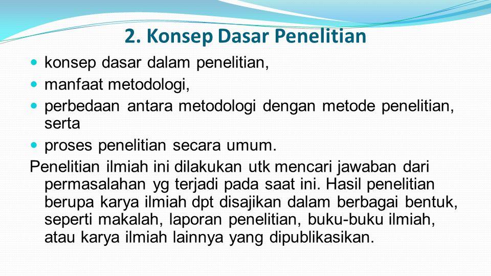 2. Konsep Dasar Penelitian konsep dasar dalam penelitian, manfaat metodologi, perbedaan antara metodologi dengan metode penelitian, serta proses penel