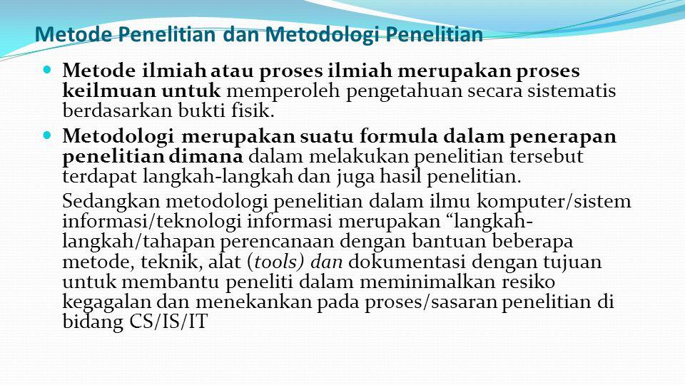 Metode Penelitian dan Metodologi Penelitian Metode ilmiah atau proses ilmiah merupakan proses keilmuan untuk memperoleh pengetahuan secara sistematis