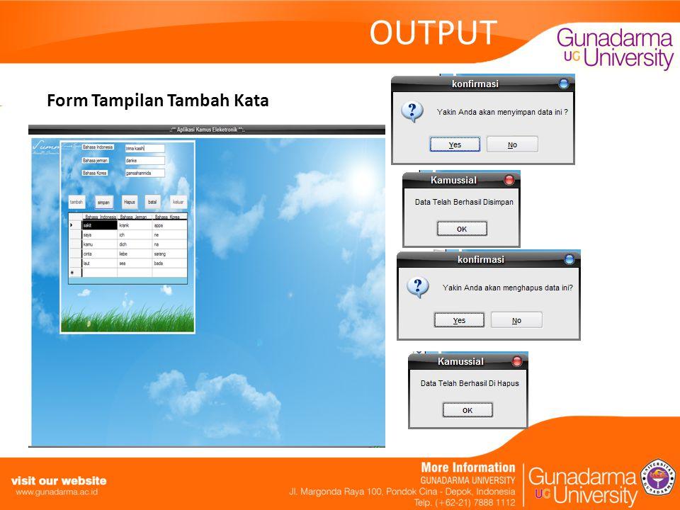 OUTPUT Form Tampilan Tambah Kata
