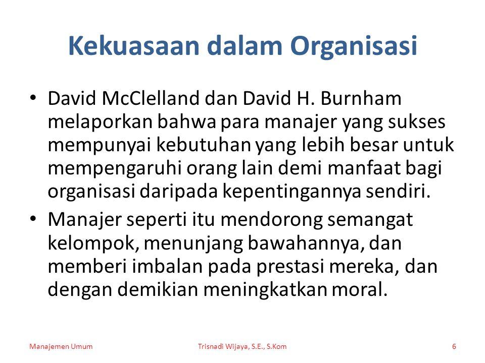 Kekuasaan dalam Organisasi David McClelland dan David H. Burnham melaporkan bahwa para manajer yang sukses mempunyai kebutuhan yang lebih besar untuk