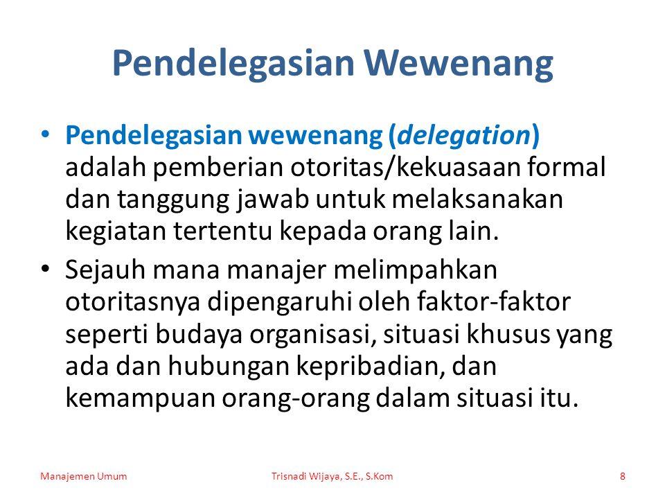 Pendelegasian Wewenang Pendelegasian wewenang (delegation) adalah pemberian otoritas/kekuasaan formal dan tanggung jawab untuk melaksanakan kegiatan t